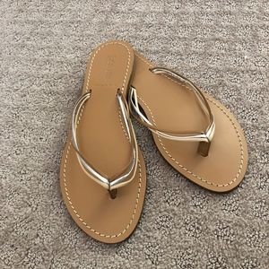 J. Crew Made In Italy Leather Flip Flops Sz 9